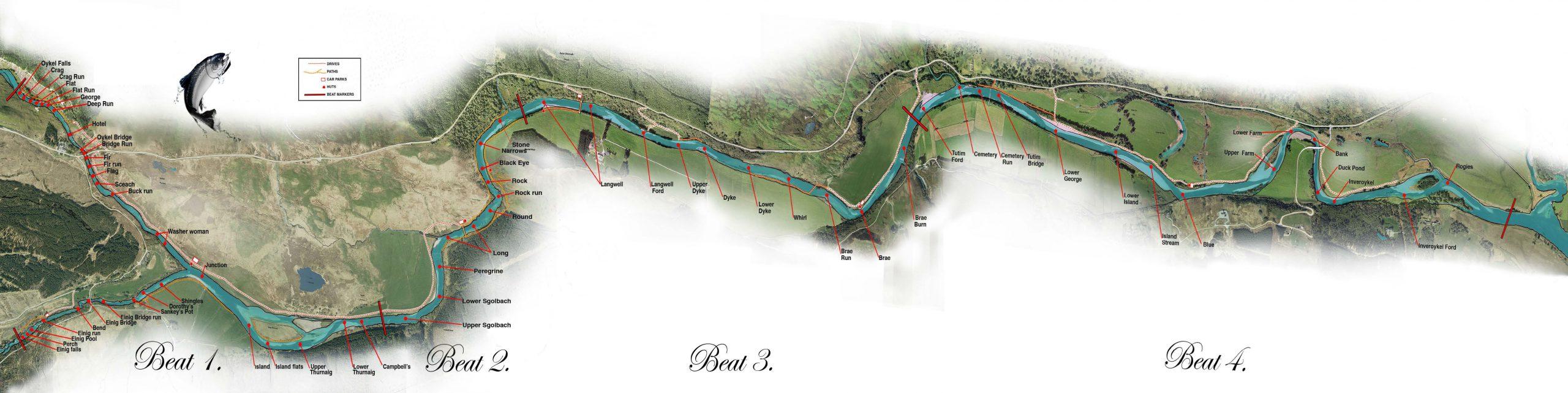 Lower Oykel Salmon Fishing Beat Map